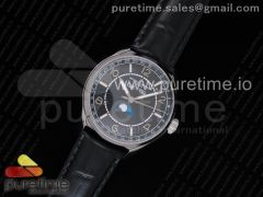FiftySix Complete Calendar SS OXF Black Dial on Black Leather Strap A23J