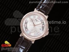 Marine 5517 RG V9F 1:1 Best Edition White Textured Dial on Brown Leather Strap A23J