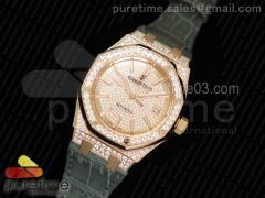 Royal Oak 37mm 15452 RG Full Paved Diamonds JF 1:1 Best Edition Diamonds Dial on Gray Leather Strap A3120